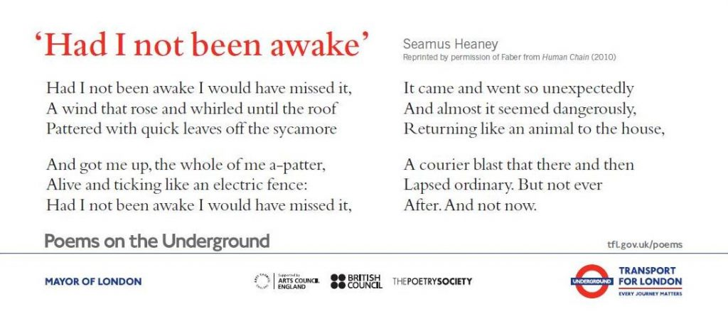"Poem ""Had I not been awake"" as displayed on the London Underground"